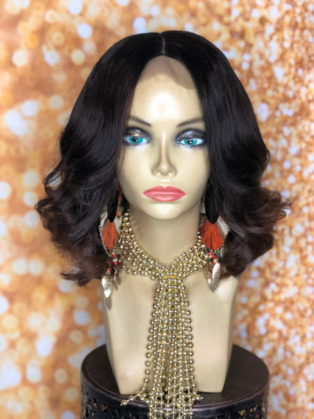 TreBella Wigs 12in indian wavy bob w/highlights - TreBella Wigs