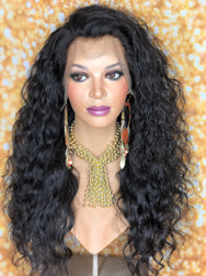 Cambodian wavy 20in unit w/widow's peak lace frontal - TreBella Wigs