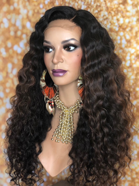TreBella Wigs Custom Curly unit w/ lace closure unit 20in w/highlights - TreBella Wigs