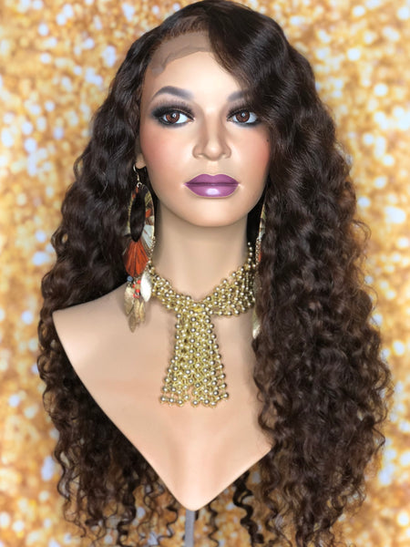 TreBella Wigs Custom Curly unit w/ lace closure unit 22in - TreBella Wigs