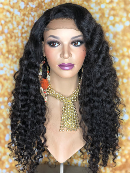 TreBella Wigs Custom Curly unit w/ lace closure unit 18in - TreBella Wigs