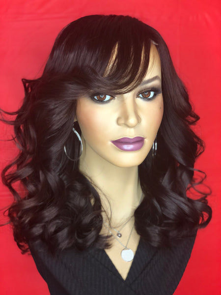 TreBella Wavy 14in custom unit w/swoop bang - TreBella Wigs