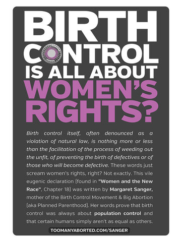 """BIRTH CONTROL IS ALL ABOUT WOMEN'S RIGHTS"" 4in x 6in Postcard"