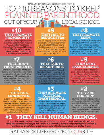 """TOP 10 REASONS TO KEEP PLANNED PARENTHOOD OUT OF YOUR LOCAL SCHOOL"" Infographic/Factsheet"