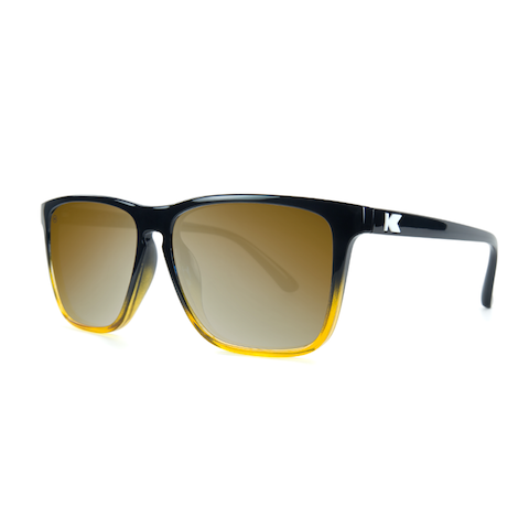 lenoor crown knockaround fast lanes sunglasses glossy black amber ice gold