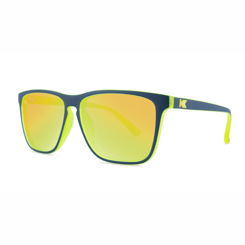 lenoor crown knockaround fast lanes sunglasses navy blue and neon yellow geode