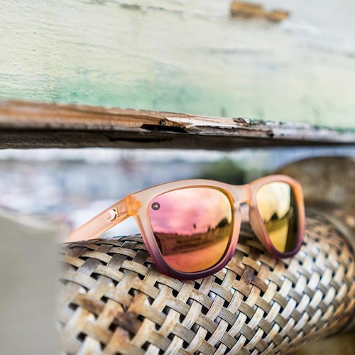 lenoor crown knockaround premiums sunglasses frosted rose quartz fade rose