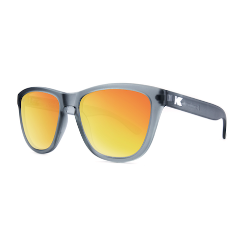 lenoor crown knockaround premiums sunglasses frosted grey red sunset
