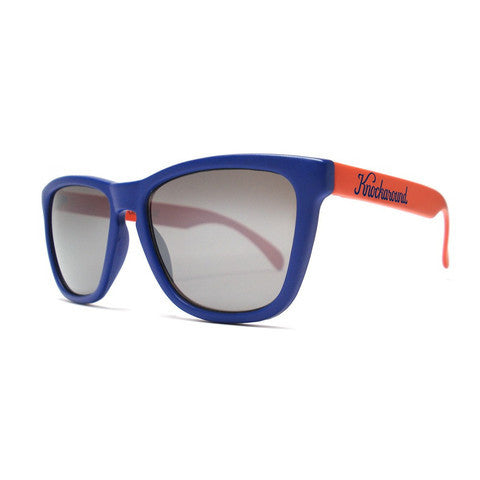 lenoor crown knockaround classics sunglasses matte navy blue and orange