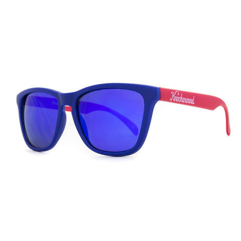 lenoor crown knockaround classics sunglasses matte navy blue and red moonshine