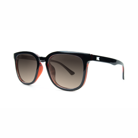 lenoor crown knockaround paso robles sunglasses glossy black brick geode amber gradient