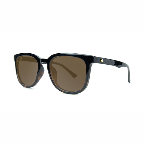 lenoor crown knockaround paso robles sunglasses glossy black tortoise shell fade amber