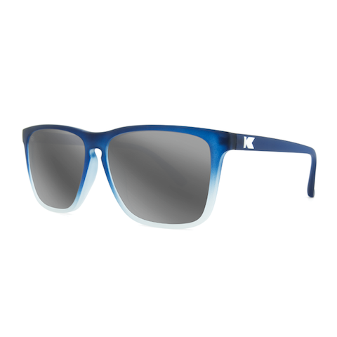 lenoor crown knockaround fast lanes sunglasses frosted rubber midnight blue ice silver smoke