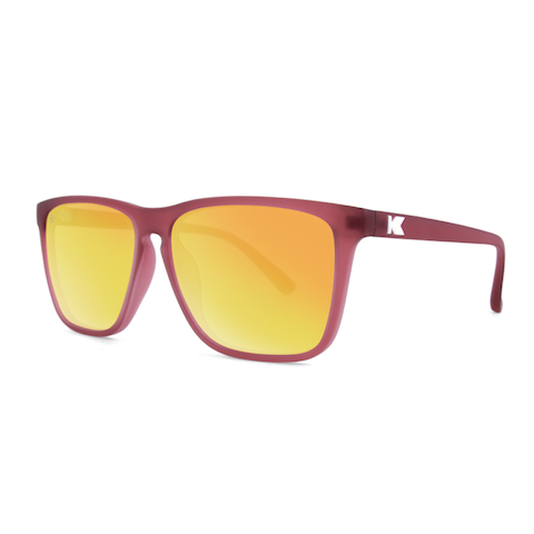lenoor crown knockaround fast lanes sunglasses frosted rubber maroon sunset