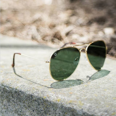 lenoor crown knockaround mile highs sunglasses gold aviator green