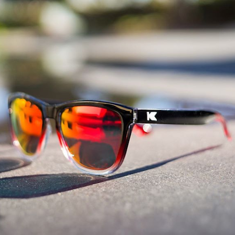 lenoor crown knockaround premiums sunglasses black and red ice red sunset