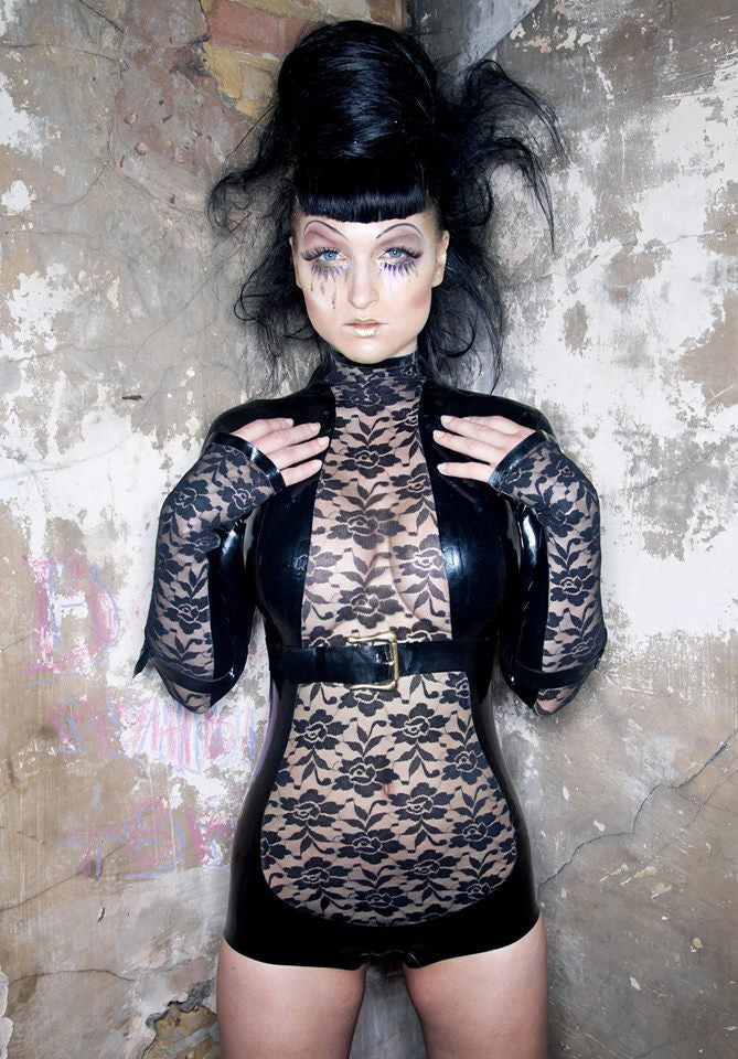 Lace Latex Long Sleeve Leotard
