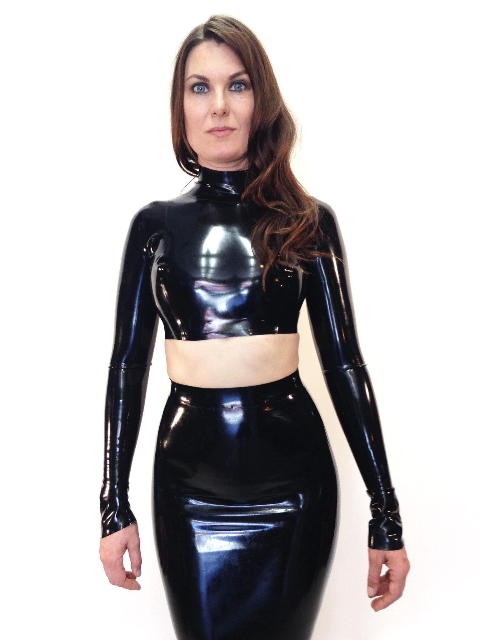 long sleeve crop top jane doe latex