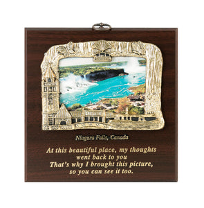 Wooden plaque with photo of Niagara Falls