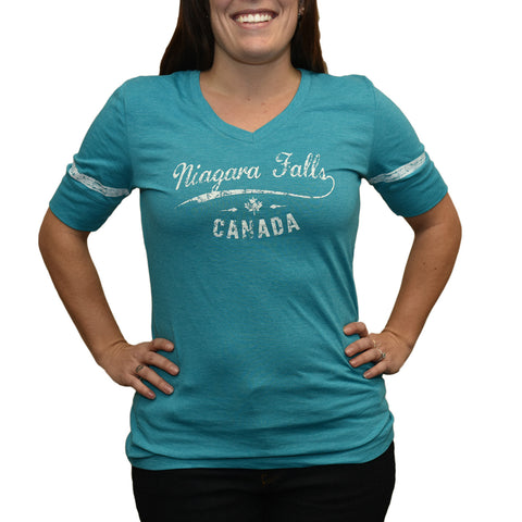 Ladies T-shirt Striped Sleeve - Turquoise