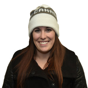 woman wearing Canadian made white winter toque, 100% acrylic