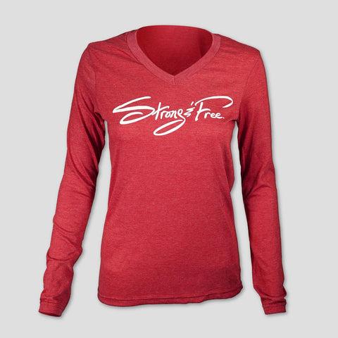 Strong & Free Long-sleeve V-neck Ladies Tee