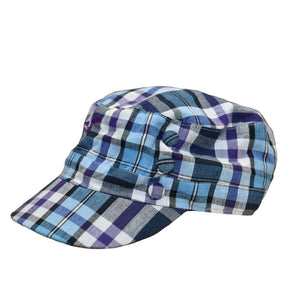 Ladies Plaid Hat - Purple/Blue