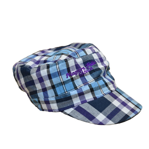 Purple and blue plaid hat with Niagara Falls ebroidered on it in purple