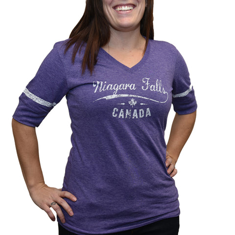 Ladies T-shirt Striped Sleeve - Purple