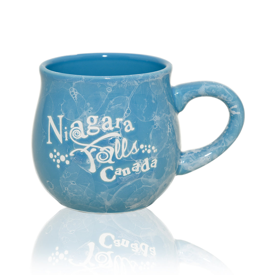 Blue bubble mug with saying