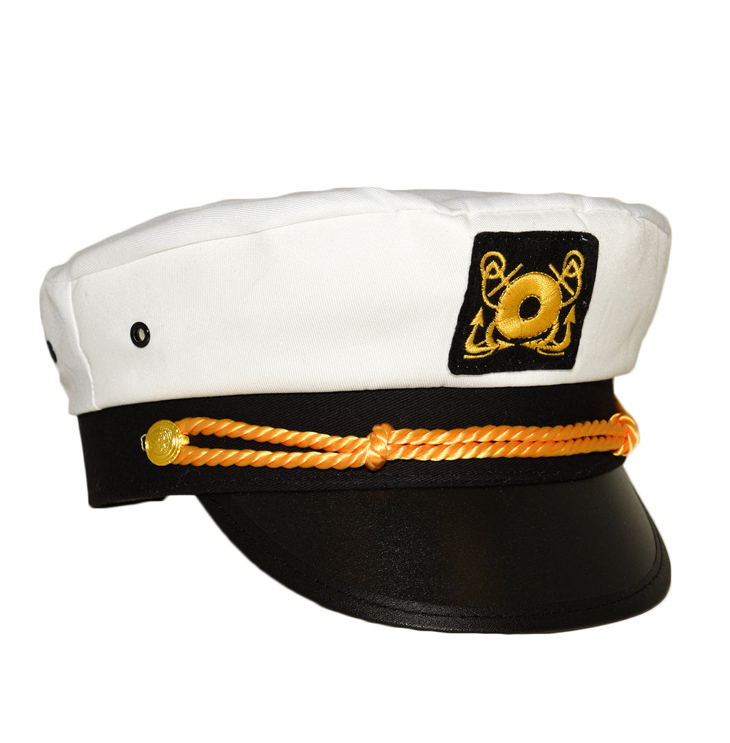White captain's hat with black brim and gold roping