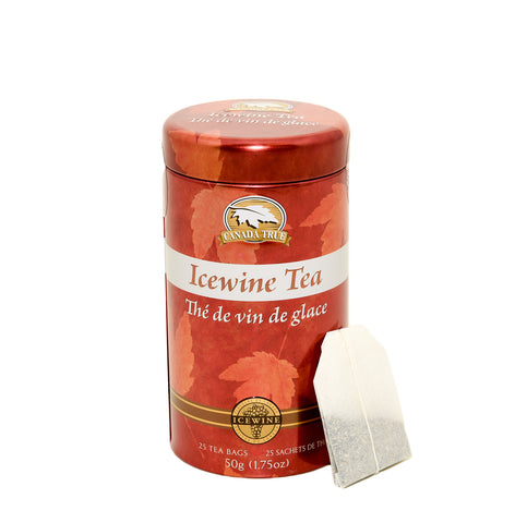 Red icewine tea canister with tea bag resting against it