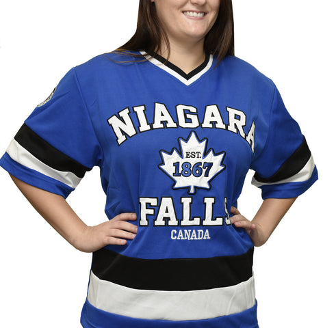 Girl wearing blue Niagara Falls hockey jersey