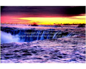 Horseshoe Falls in purple and gold