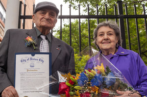 © SARTONK. Ardash and Nazeli Sahaghian at Union City's Armenian Flag Raising Ceremony, where a Proclamation was issued honoring their contributions to the city.