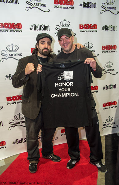 ©SARTONK. UFC CEO, Dana White at SARTONK's launch of Honor Your Champion at Box Fan Expo. Photo credit: Terje Riinaes