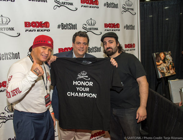 ©SARTONK. World Boxing Council President, Jose Sulaiman, 5 time World Champion Vinny Paz with SARTONK President Ed Majian at launch of Honor Your Champion. Photo credit: Terje Riisnaes