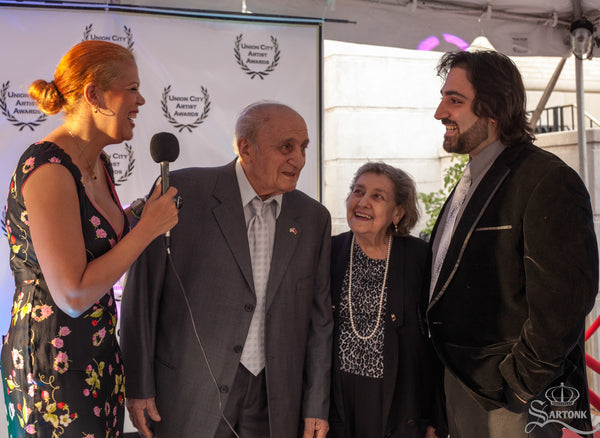 © SARTONK. President of SARTONK, Edward S. Majian with his grandparents, Ardash & Nazeli Sahaghian at at the Union City Artists Awards, where Mr. Sahaghian was honored.