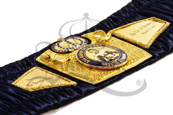 ©SARTONK. Commemorative Boxing Belt Commissioned by the City of Bayonne and made by SARTONK. Gifted to Chuck Wepner on the 40th Anniversary of the Ali v. Wepner fight. Photo Credit: Lourenso Ramautar.