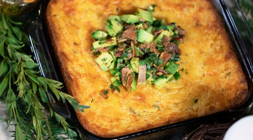 Corn Souffle with Avocado-Bacon Salsa