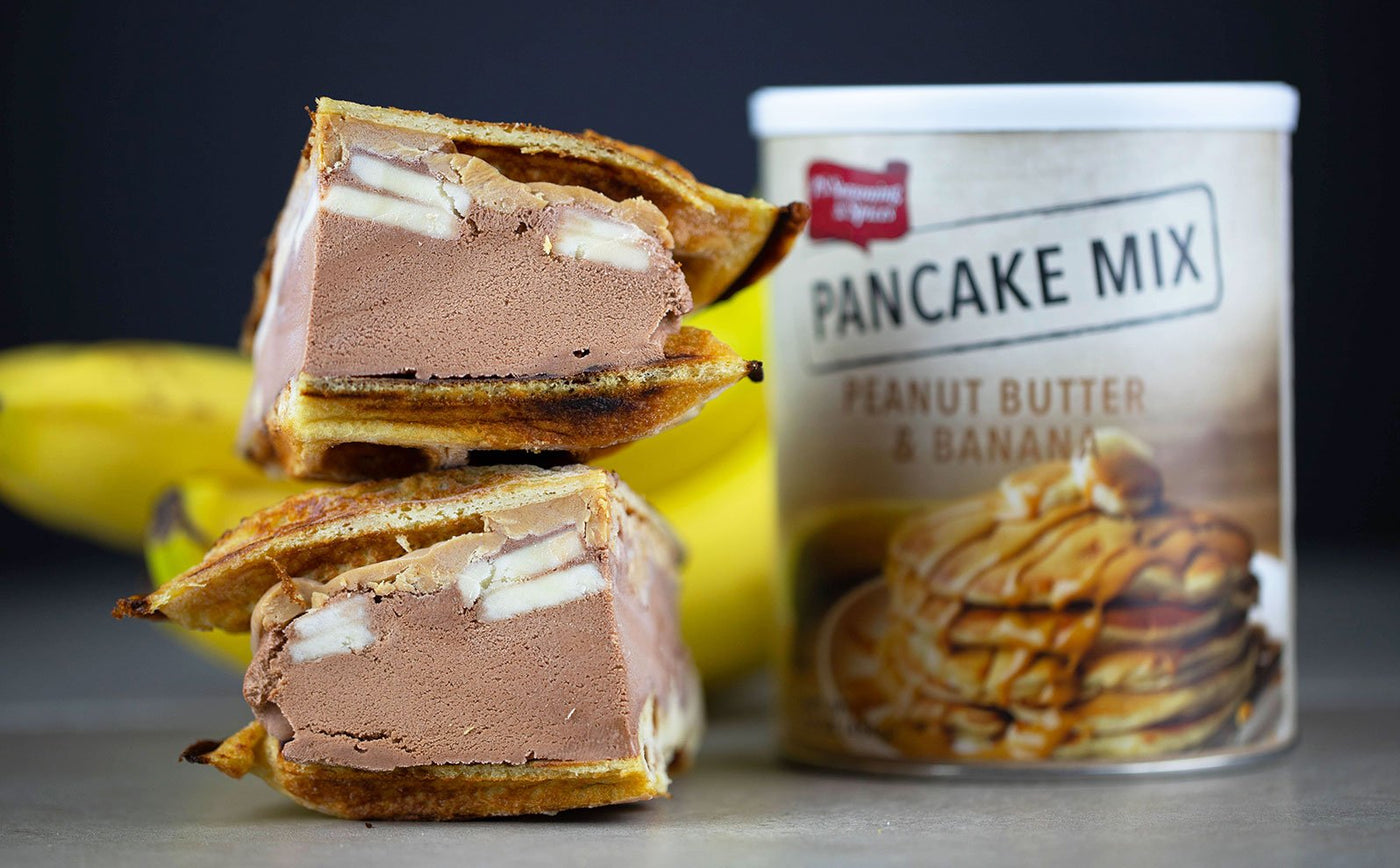 Chocolate Banana Peanut Butter Waffle Ice Cream Sandwich