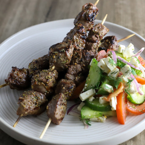 Lamb Kebab with Tomato Cucumber Salad