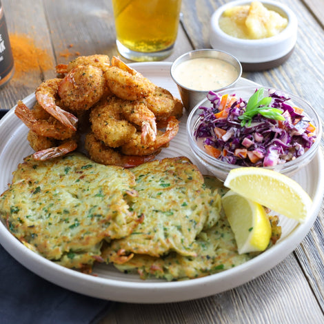 Nashville Hot Fried Shrimp & Potato Pancakes