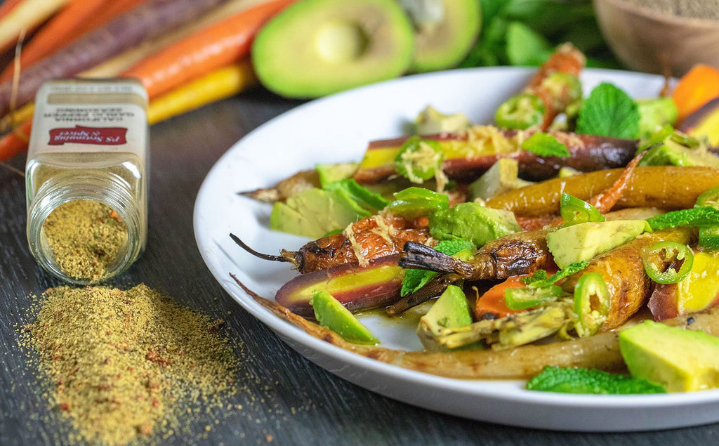 Rainbow Carrots with Avocado & Mint