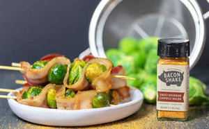 Sweet Bourbon Bacon Brussel Sprout Skewers