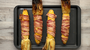 Video Recipe: Bacon-Wrapped Jalapeño Corn on the Cob