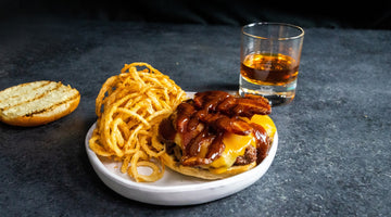 Bourbon Barrel Burger with Haystack Onion Rings