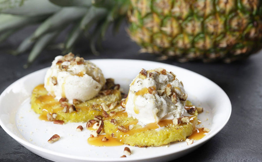 Grilled Pineapple with Sweet Pecan Ice Cream