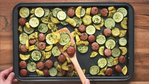 Sheet Pan Roasted Sausage with Summer Squash