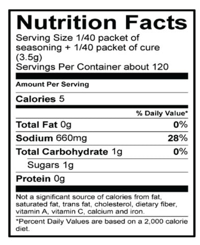 Original Jerky Nutrition Panel